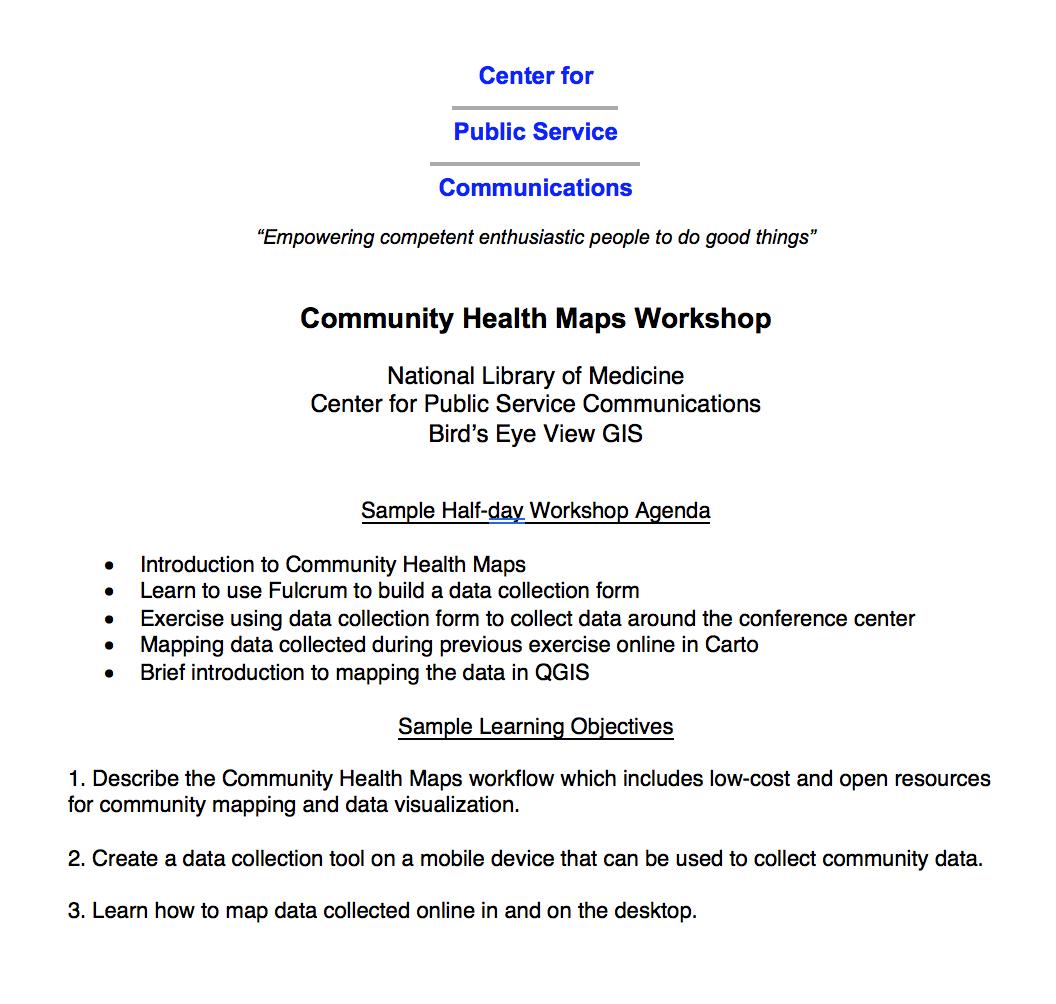 Community Health Maps Workshop Agenda
